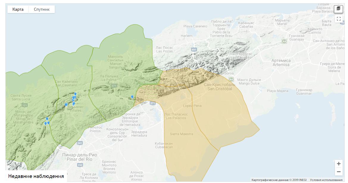 Карта мест обитания, остров Куба, фото: iNaturalist.org
